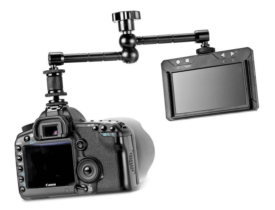 Canon 5D Mark II mit Monitor und Gelenkarm.