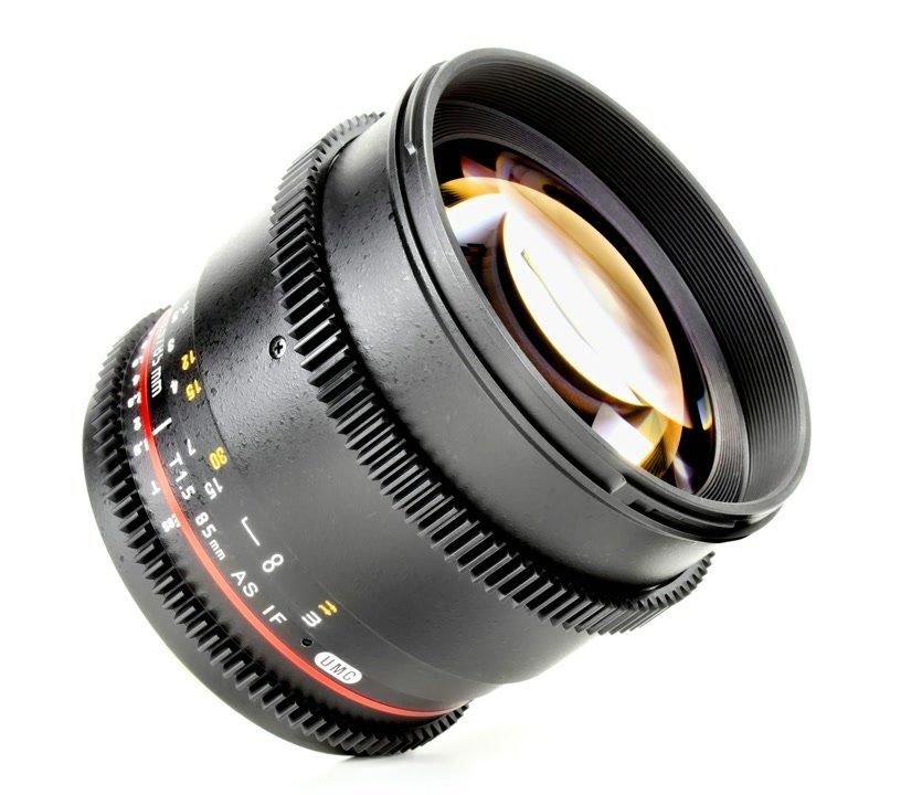 Samyang 85mm / t1.5 VDSLR Objektiv mit Mod 0.8 (Nikon F FX/DX).