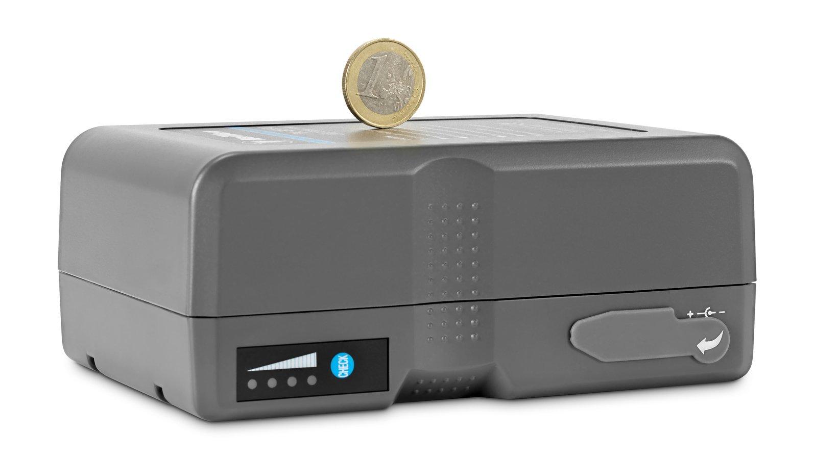 Grössenvergleich 1 EURO Münze und BP190 Akku.