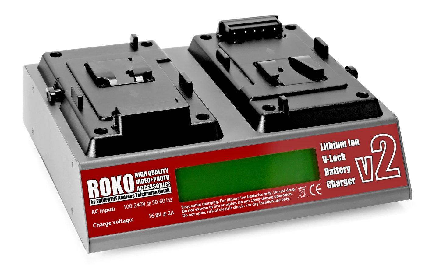 ROKO v2 lüfterloses 2-fach Ladegerät für V-Mount Akkus.