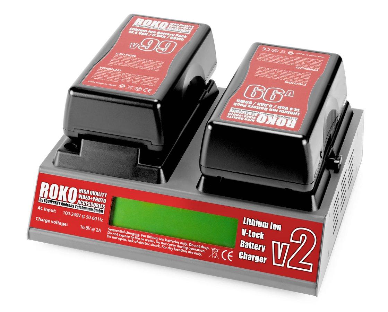 ROKO v2 Ladegerät mit zwei v99 Akkus.