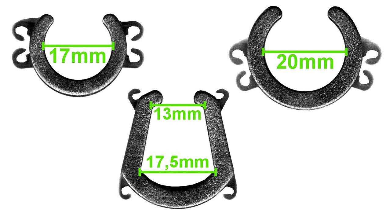 Es werden drei Adapter für drei verschiene Mikrofongrösse geliefert.