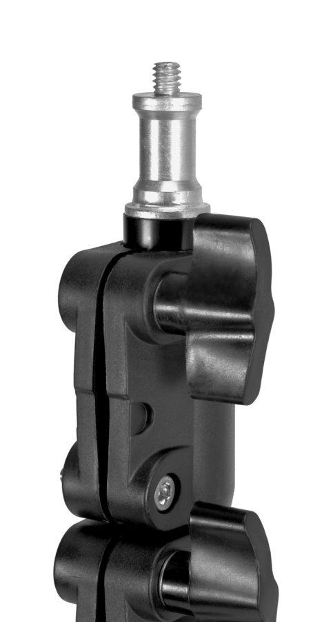 Das Stativ hat einen Spigot Zapfen mit 1/4 Zoll Gewinde oben drauf.
