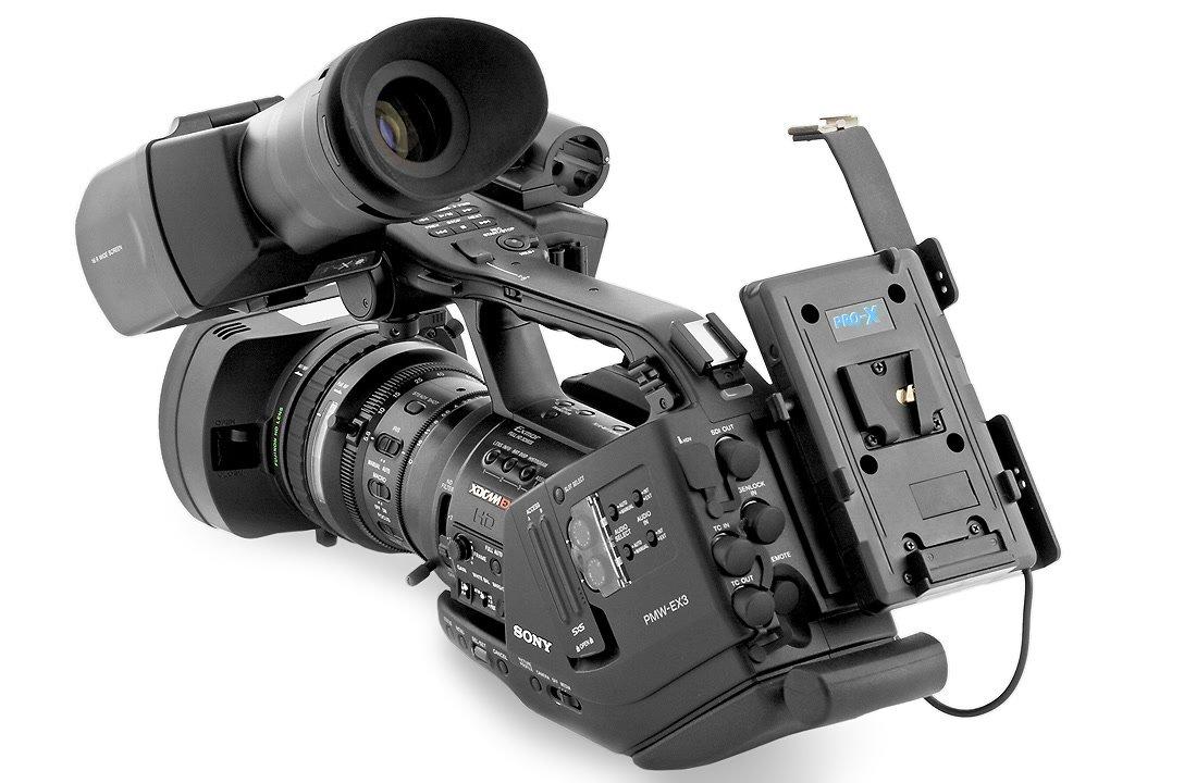 V-Mount Akkuadapter auf Sony EX3.