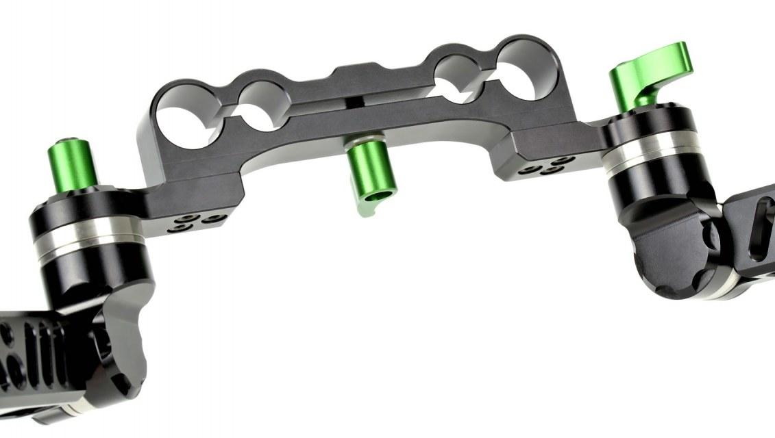 Man kann die Griffe mit 15mm oder 19mm Rods nutzen.