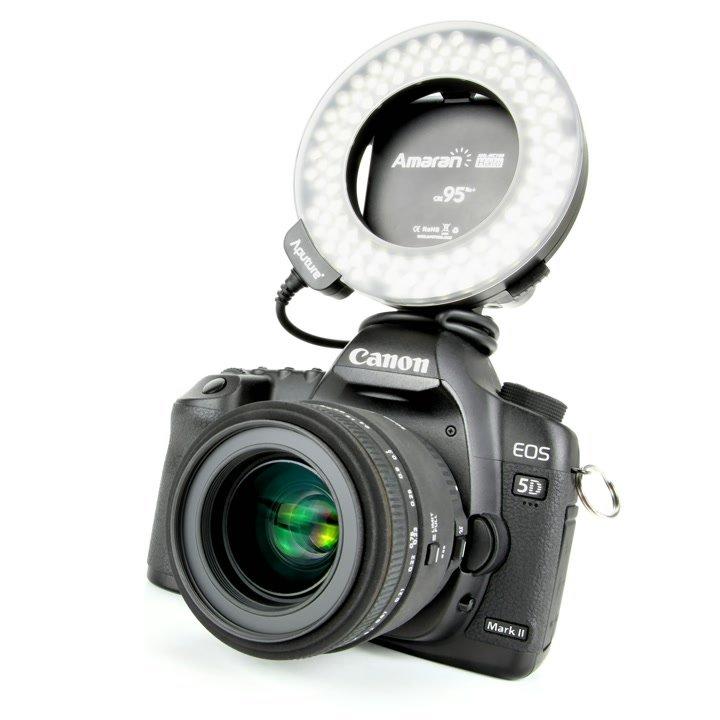 Aputure AHL-HC100 LED Ringleuchte auf Canon 5D Mark II.