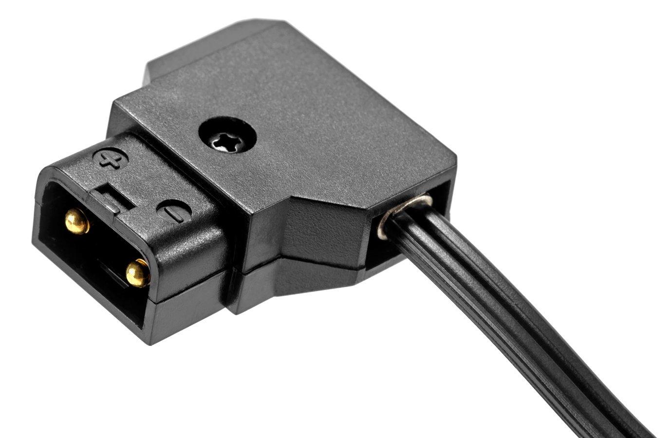 Anschluss am Akku erfolgt über D-Tap Stecker.