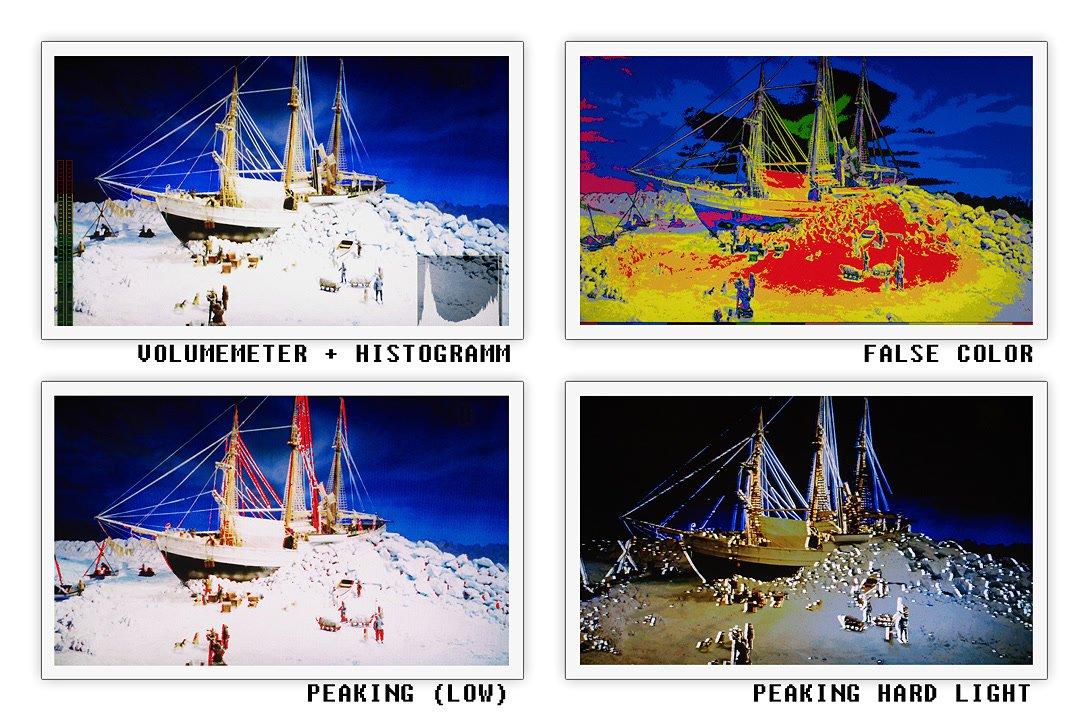 Peaking, False Color und Histogramm aus Signal Generator.