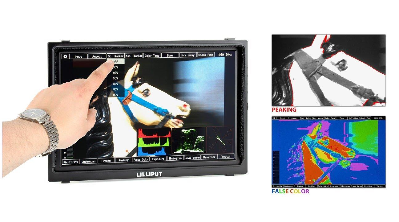 Peaking und False Color können per Touch Screen aktiviert werden.