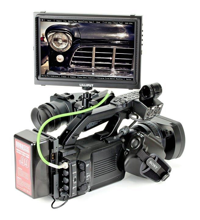 Sony PMW300 mit Lilliput TM-1018 über SDI verbunden.
