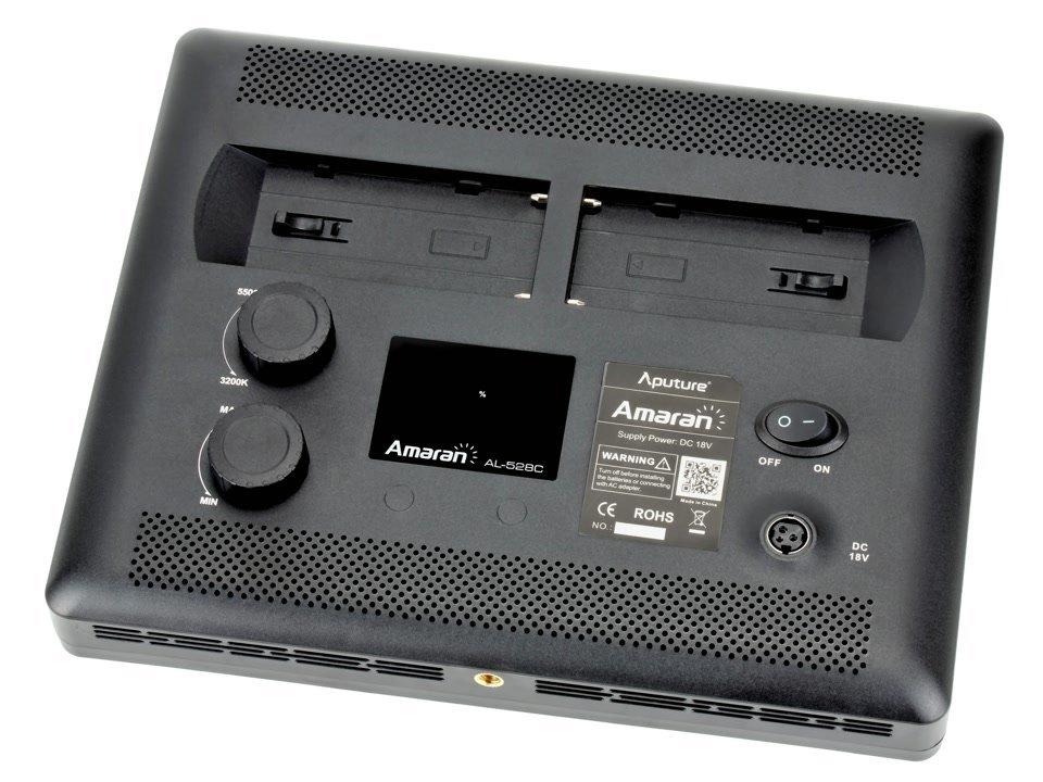 Rückseite Aputure AL-528C BiColor LED-Leuchte.