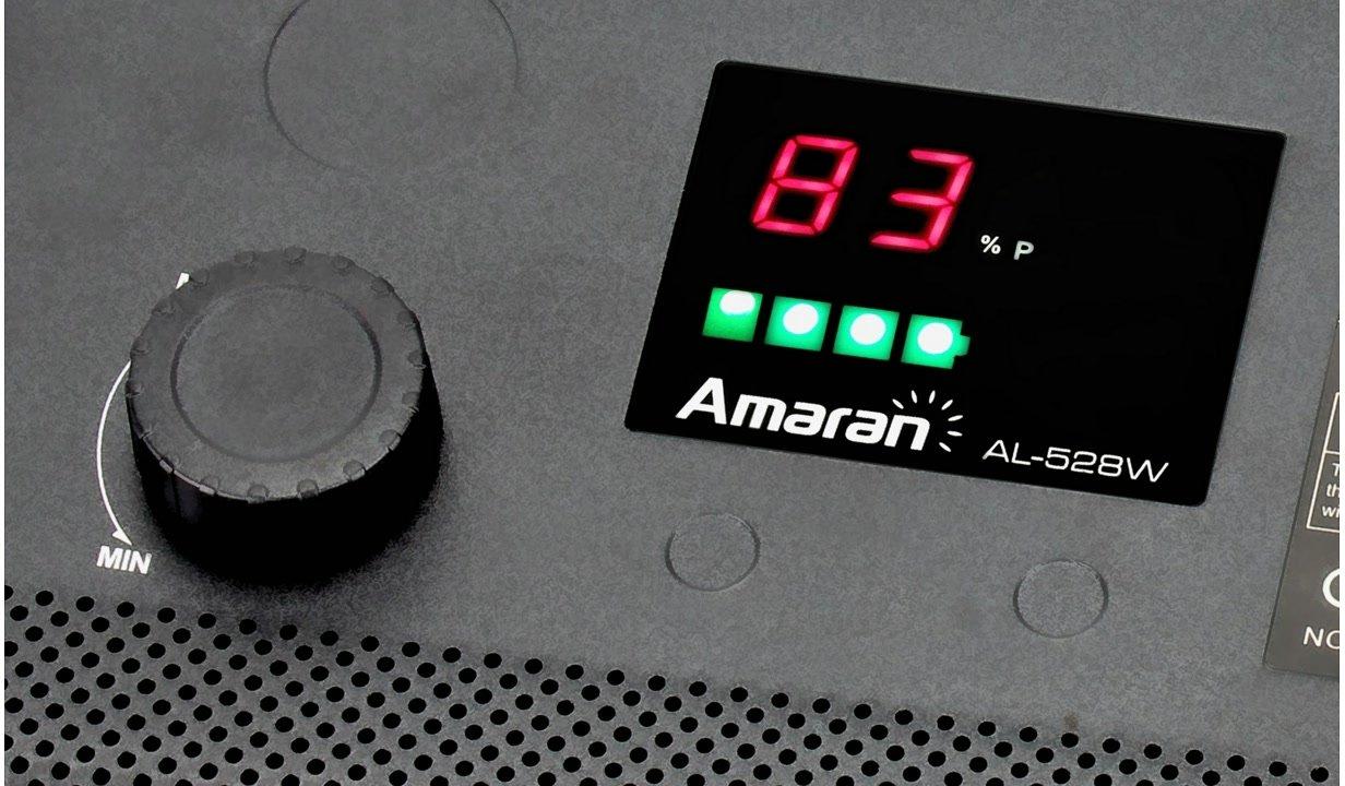 Statusdisplay zeigt Leuchtstärke der AL-528W LED Leuchte.