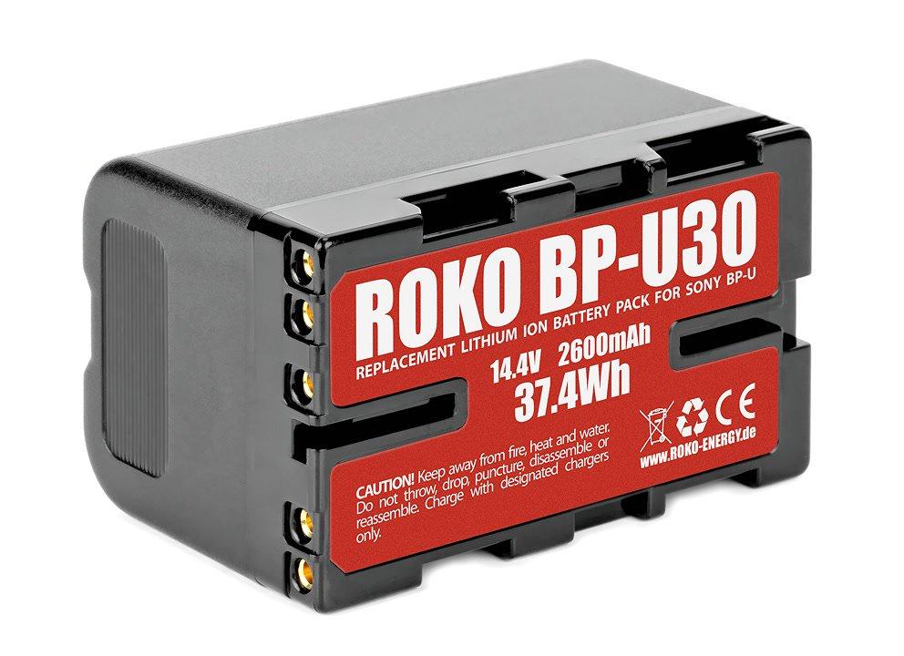 Typenschild des ROKO BP-U30 Akku.