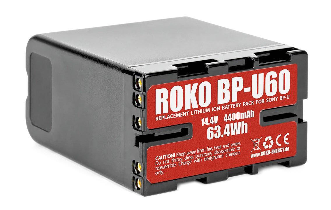 Rückseite des ROKO BP-U60 Akkus für Sony PXW-FS7.