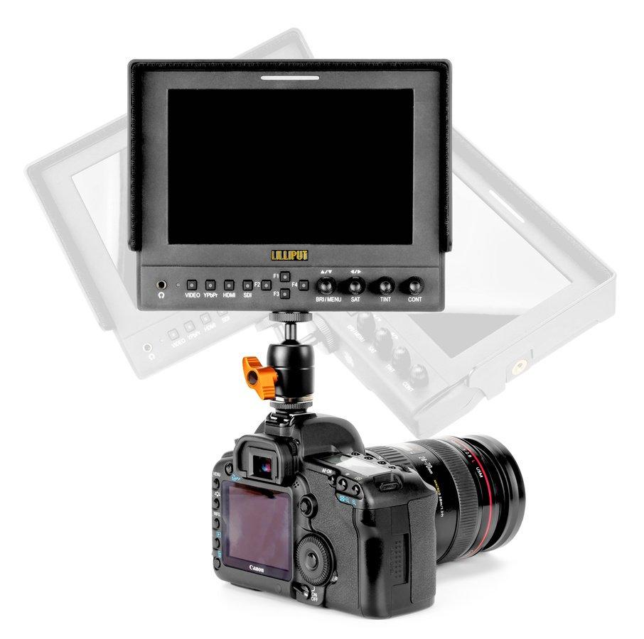 Lilliput 663 Monitor auf Canon 5D Mark II mit ROKO BH18 Kugelkopf.