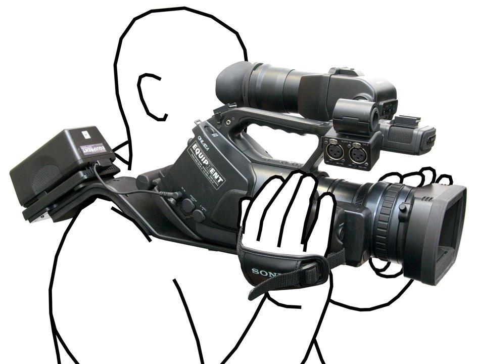 Sony EX3 mit Schulterstütze im Einsatz.