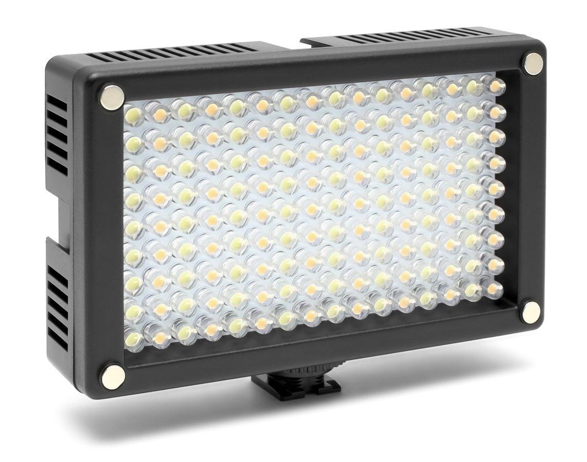 ROKO LED144 BiColor Leuchte mit Akku, Ladegerät und Tasche.