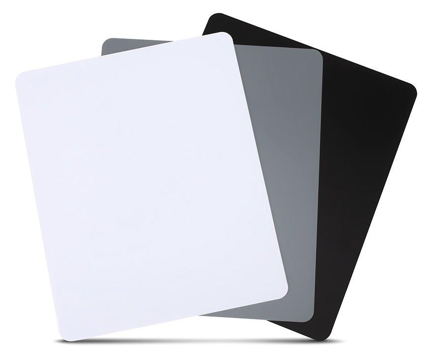 Micnova MQ-DGC-B Weissabgleich Karten (Weiss, Grau, Schwarz) 245 x 200 mm.