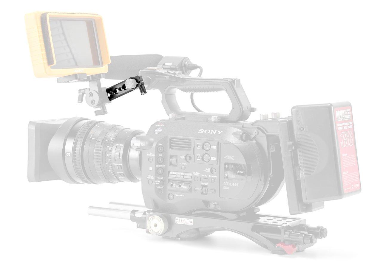 Sony FS7 mit Monitor und NATO Rail Verlängerungsarm.