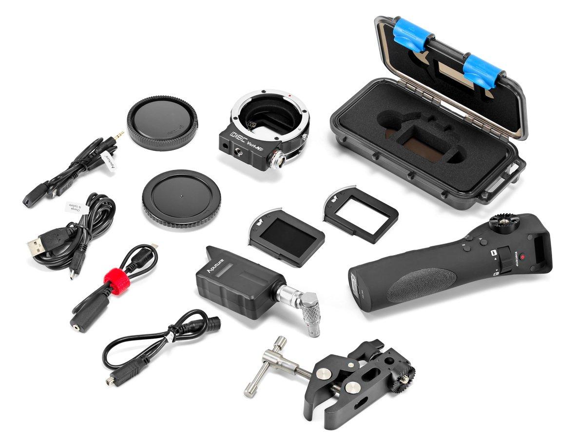 Lieferumfang Aputure DEC Vari-ND Adapter für Sony E-Mount.