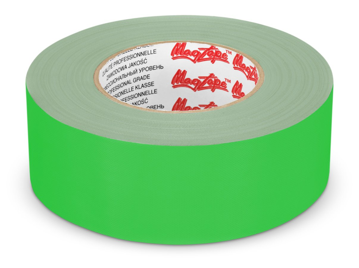 Breites Gaffer Tape in greenscreen kompatiblem Chroma Grün.