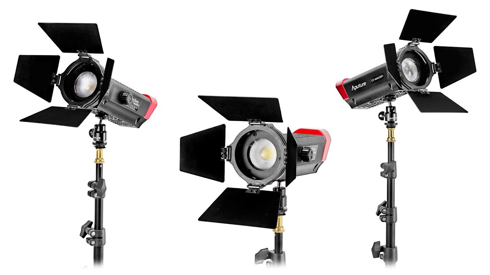 Aputure LS mini20 Flight Kit DDC 3er Set LED Leuchten BiColor und Tageslicht inkl. Stative.