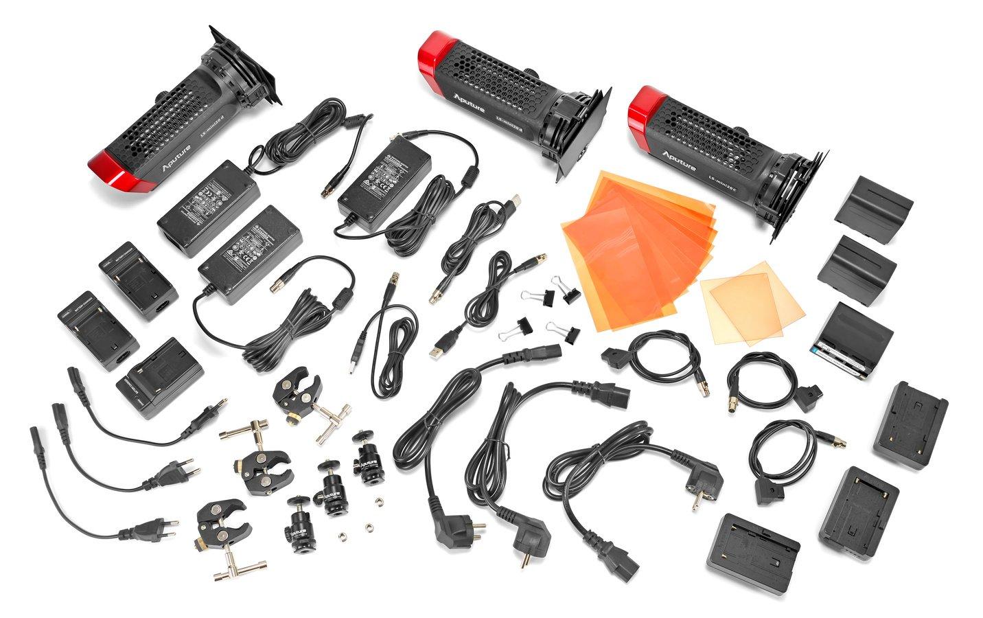 Lieferumfang drei Aputure LS mini20 Leuchten aus DDC Kit.