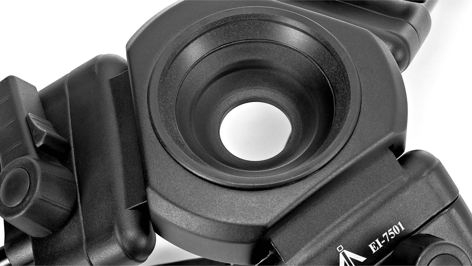 Stativköpfe mit 75mm und 100 Durchmesser können verwendet werden.