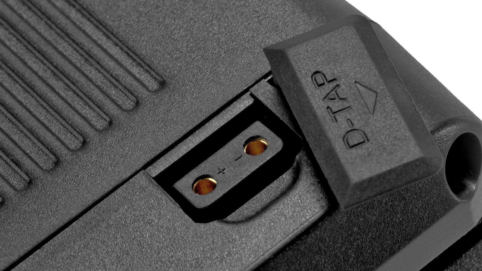 Ein D-Tap Stromausgang ist direkt in den Akku integriert.