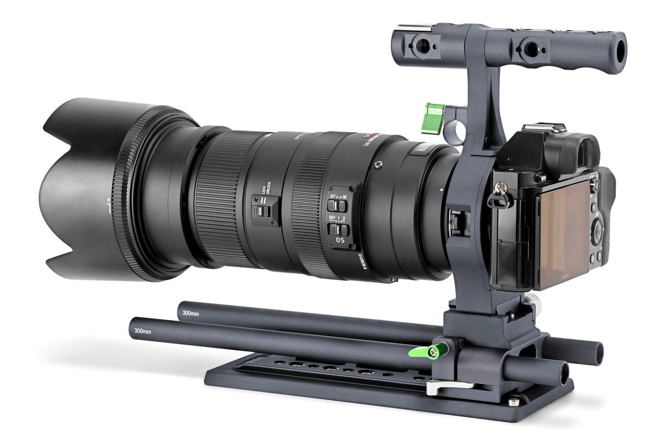 Sony A7s mit Lanparte DK-01 Cage und Sigma 50-500mm Objektiv.