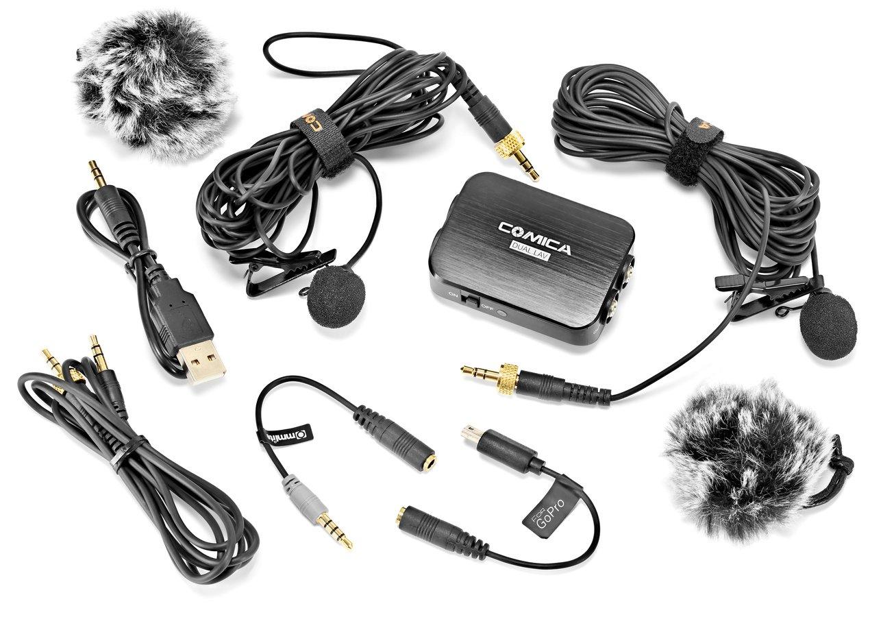 Lieferumfang Commlite CVM-D03 Lavalier Mikrofon Set.