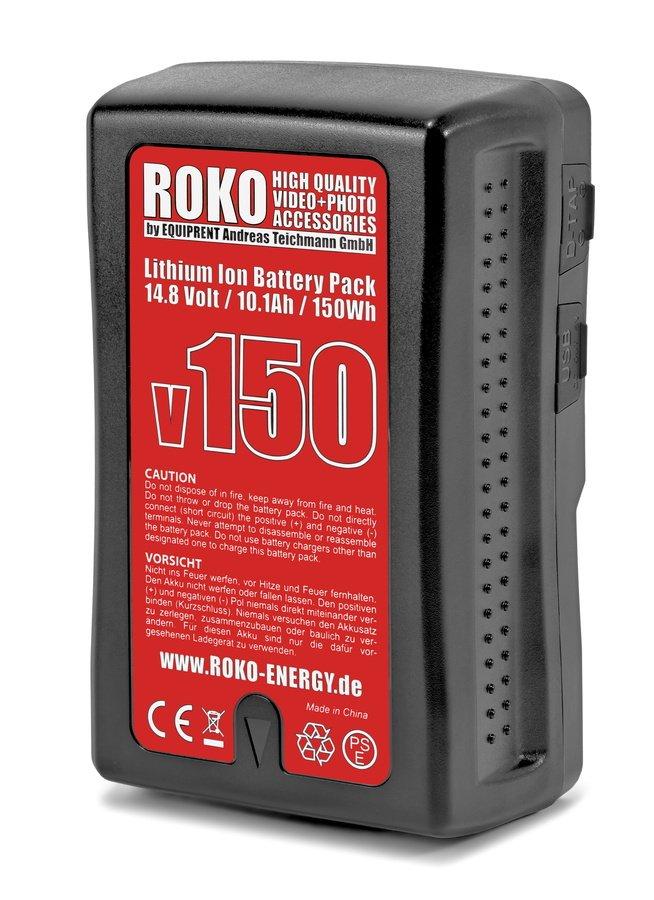 ROKO v150 Lithium Ion V-Mount Akku mit hoher Kapazität, D-Tap und USB (150Wh).