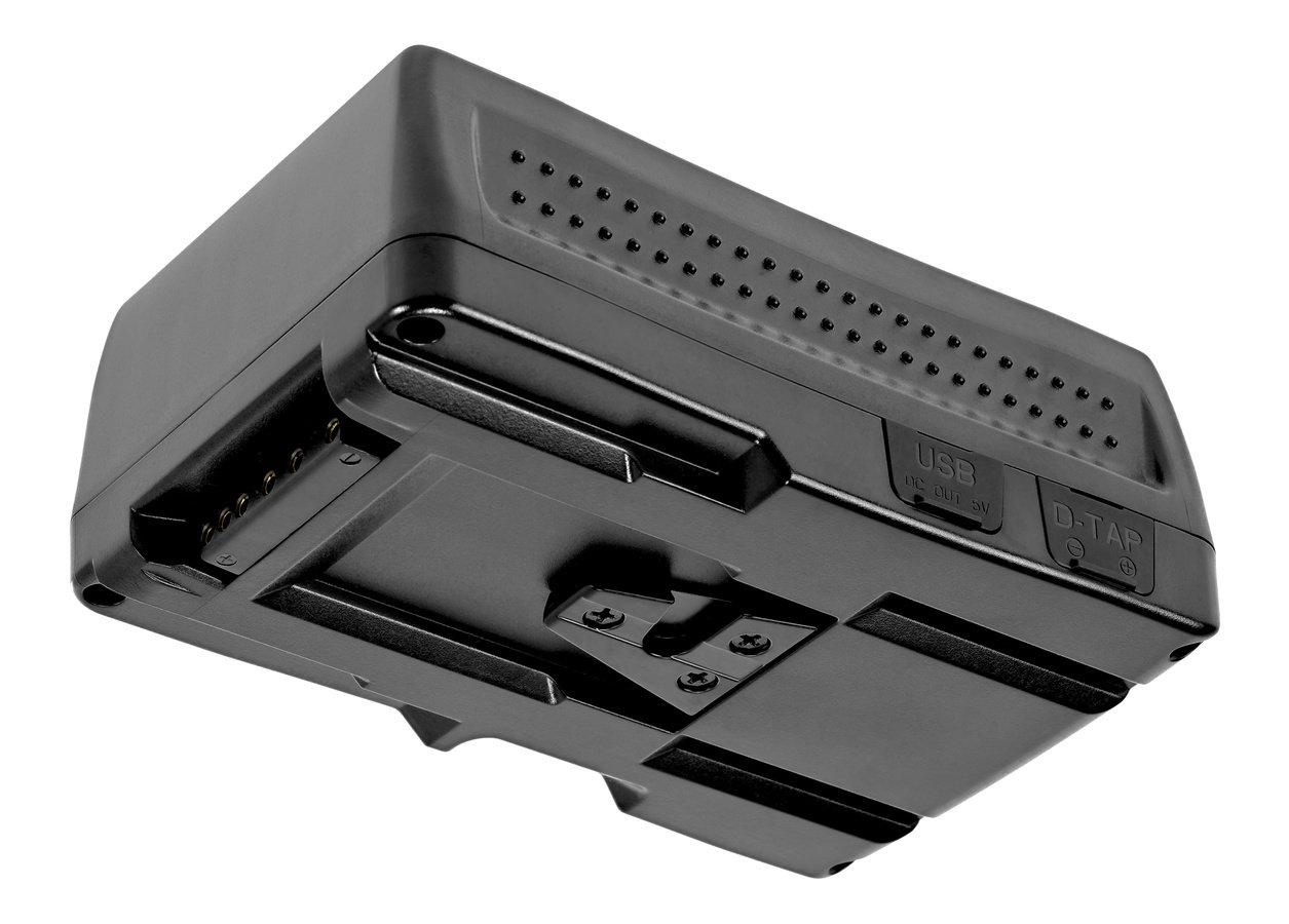 Der V-Mount Akku hat einen eingebauten USB und D-Tap Anschluss.