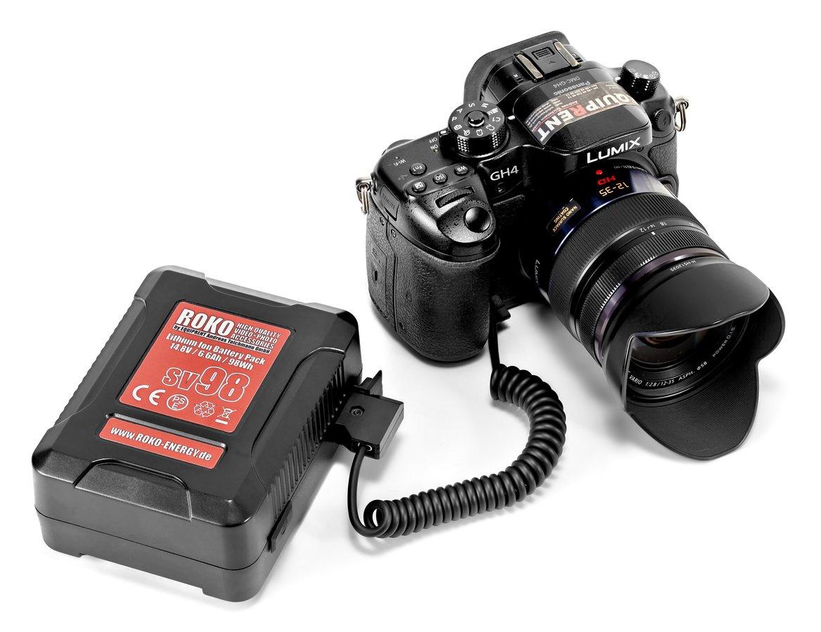 Panasonic GH4 direkt an einen V-Mount Akku angeschlossen.