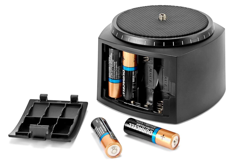 Die Stromversorgung des Panoramakopfes erfolgt mit vier AA Batterien.