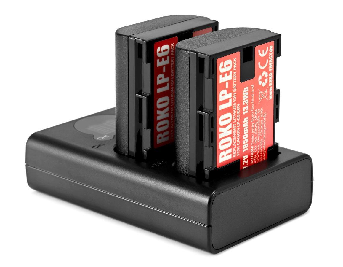 ROKO TCU2-LPE6 Doppel-Ladegerät mit USB für Canon LP-E6 Akkus Foto Nr. 3
