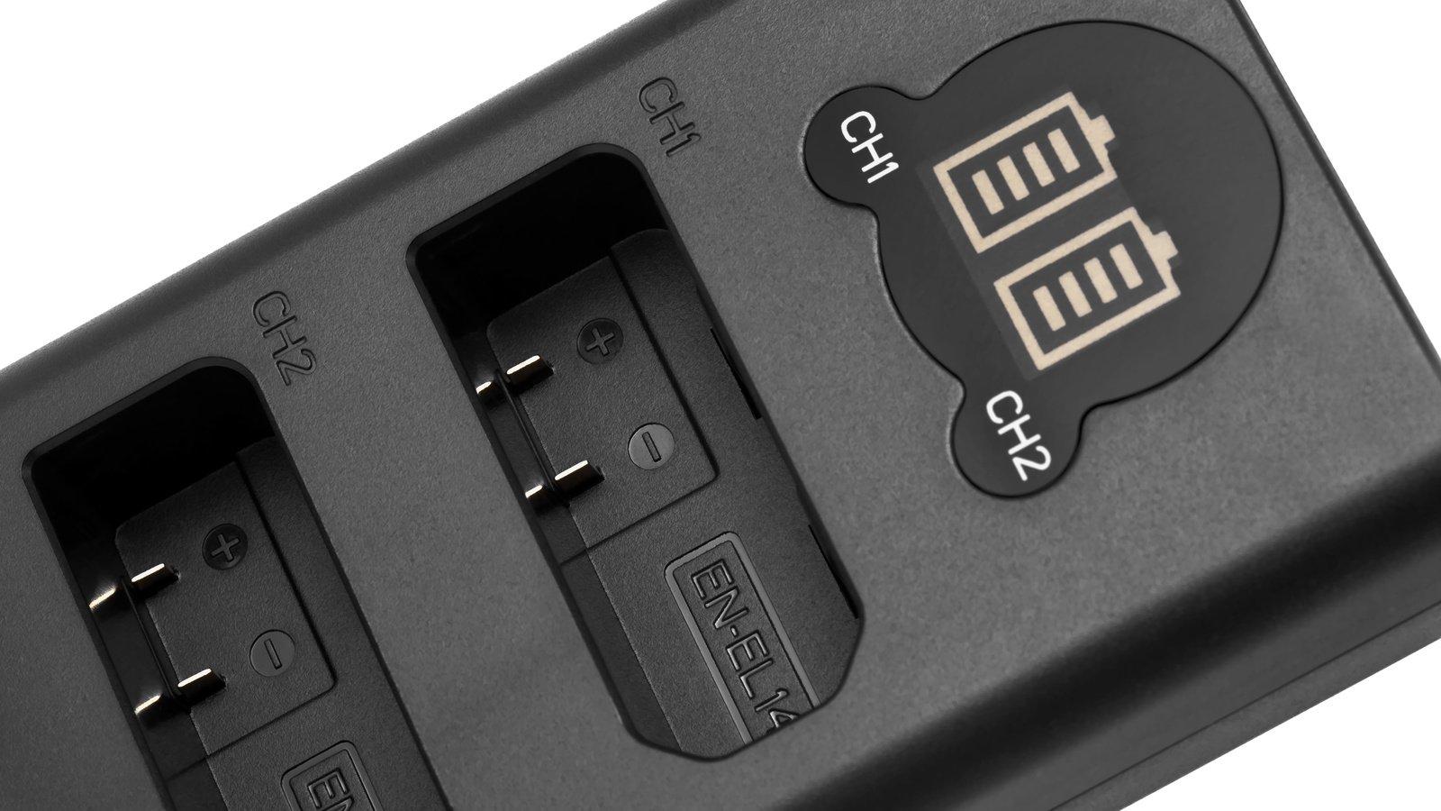 ROKO TCU2-EL14 Doppel-Ladegerät mit USB für Nikon EN-EL14 Akkus Foto Nr. 1