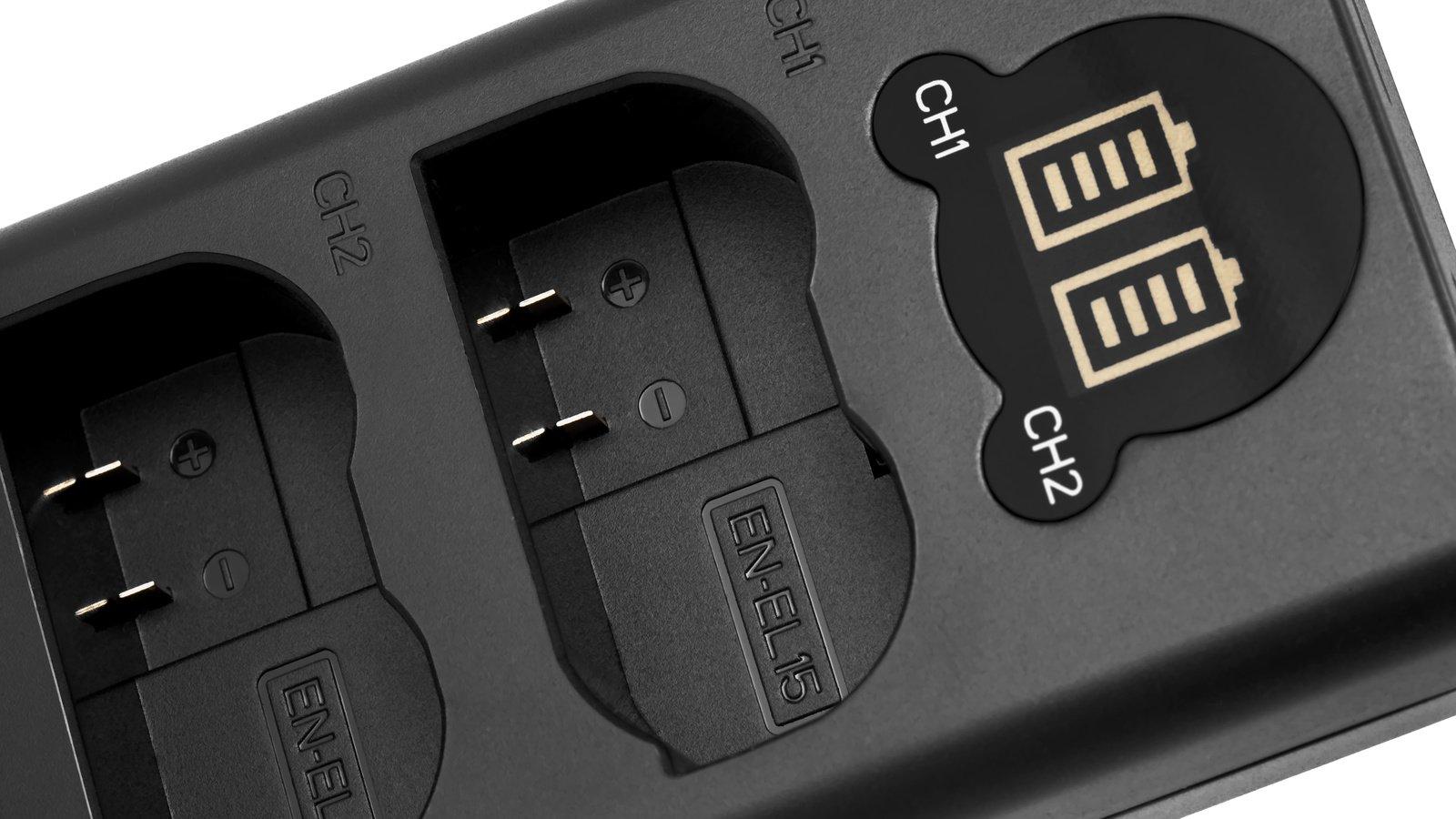 ROKO TCU2-EL15 Doppel-Ladegerät mit USB für Nikon EN-EL15 Akkus Foto Nr. 1