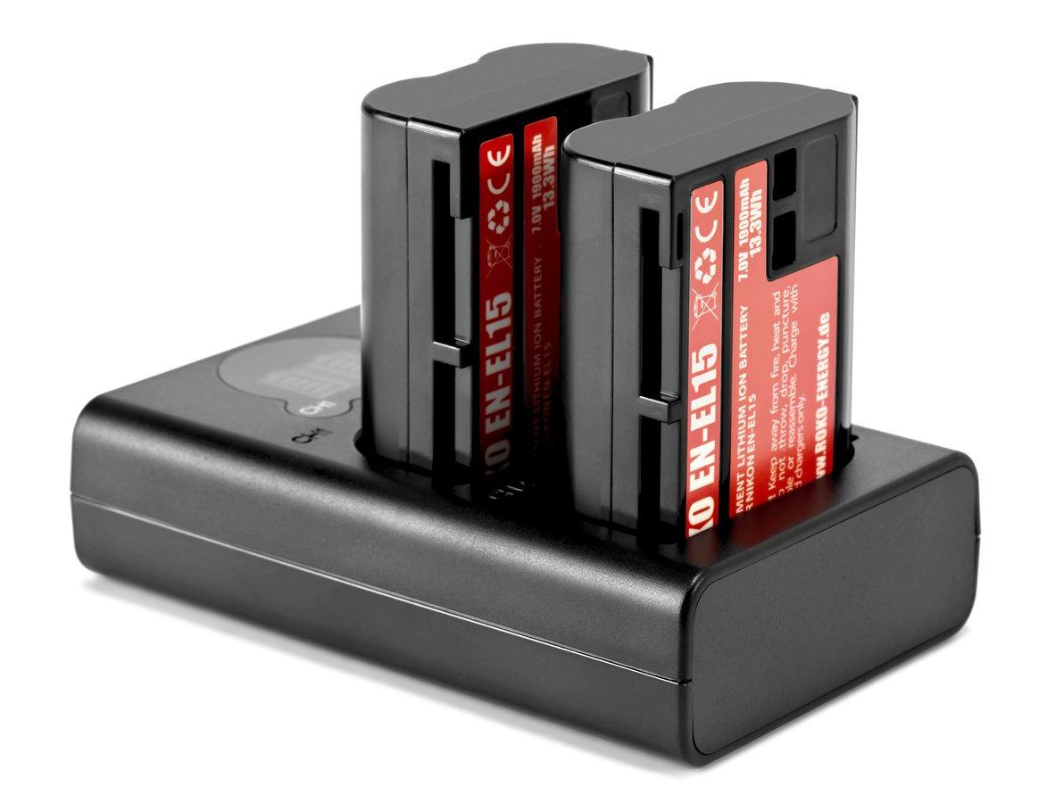 ROKO TCU2-EL15 Doppel-Ladegerät mit USB für Nikon EN-EL15 Akkus Foto Nr. 3