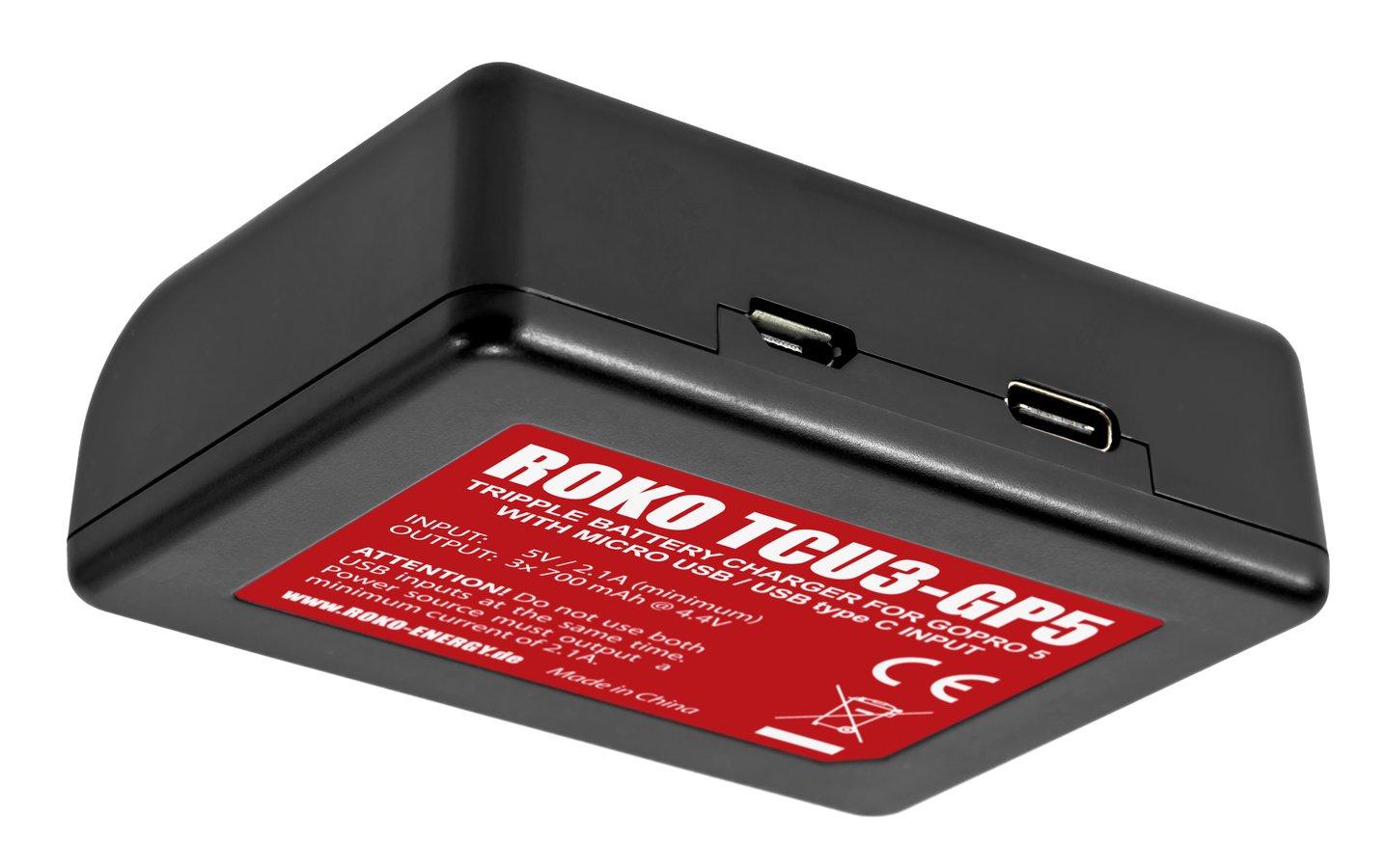 ROKO TCU3-GP5 Dreifach-Ladegerät mit USB für GoPro AABAT-001 Akku (Hero 5 6 7) Foto Nr. 2