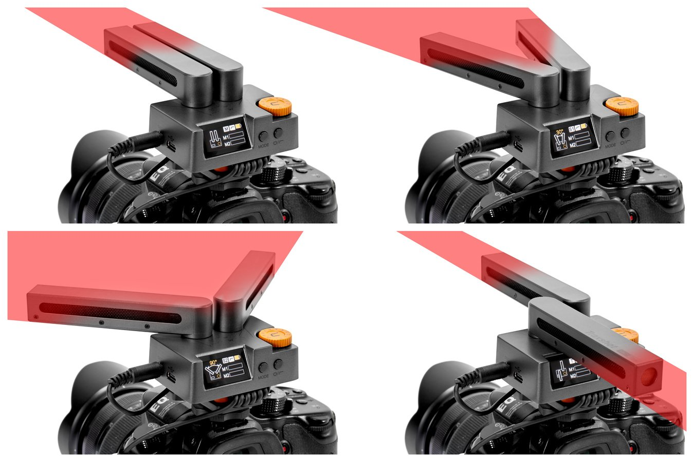 Durch Winkelverstellung wird das Mikrofon zum Richtmikro, Stereomikro oder Surroundmikro.