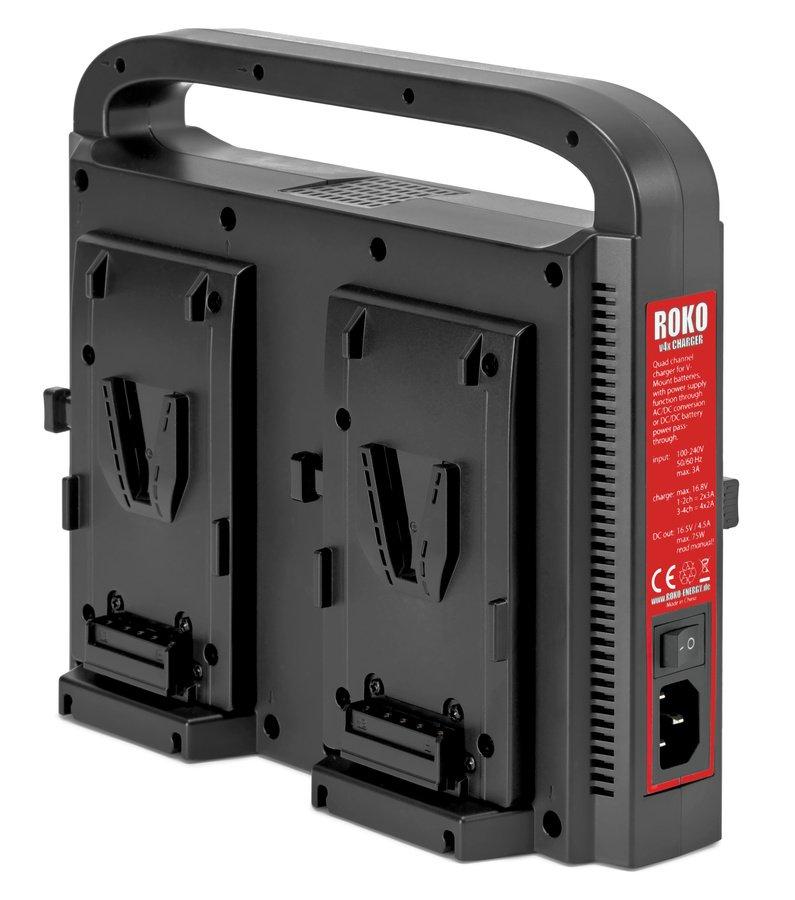 Auf der Rückseite des Ladegerätes ist der 3-polige Stromeingang und der Einschalter.