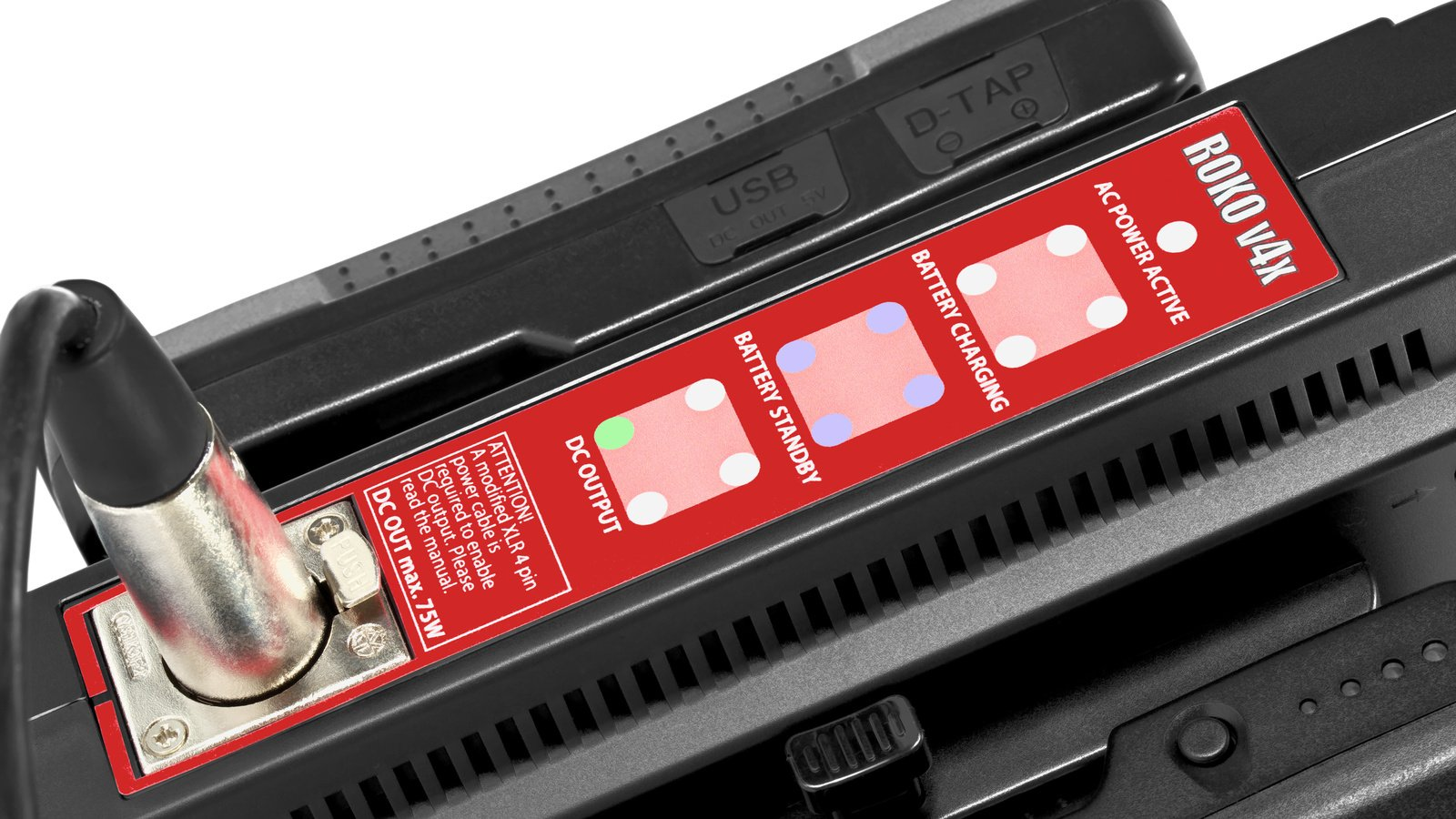 An der Front befinden sich mehrere LEDs die über den aktuellen Betriebszustand informieren.