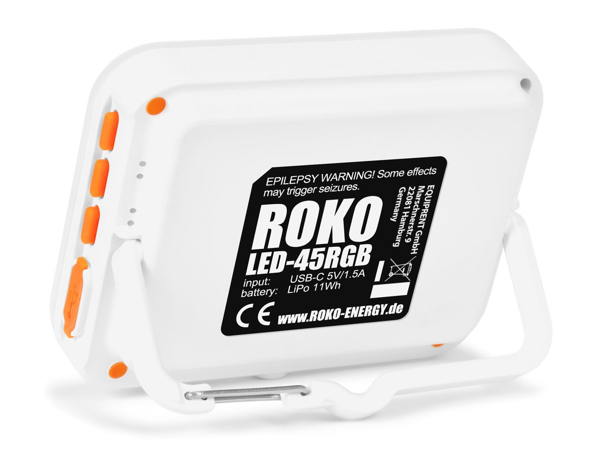 ROKO LED-45RGB (weiß) mini RGB und BiColor Effektleuchte mit Akku Foto Nr. 1