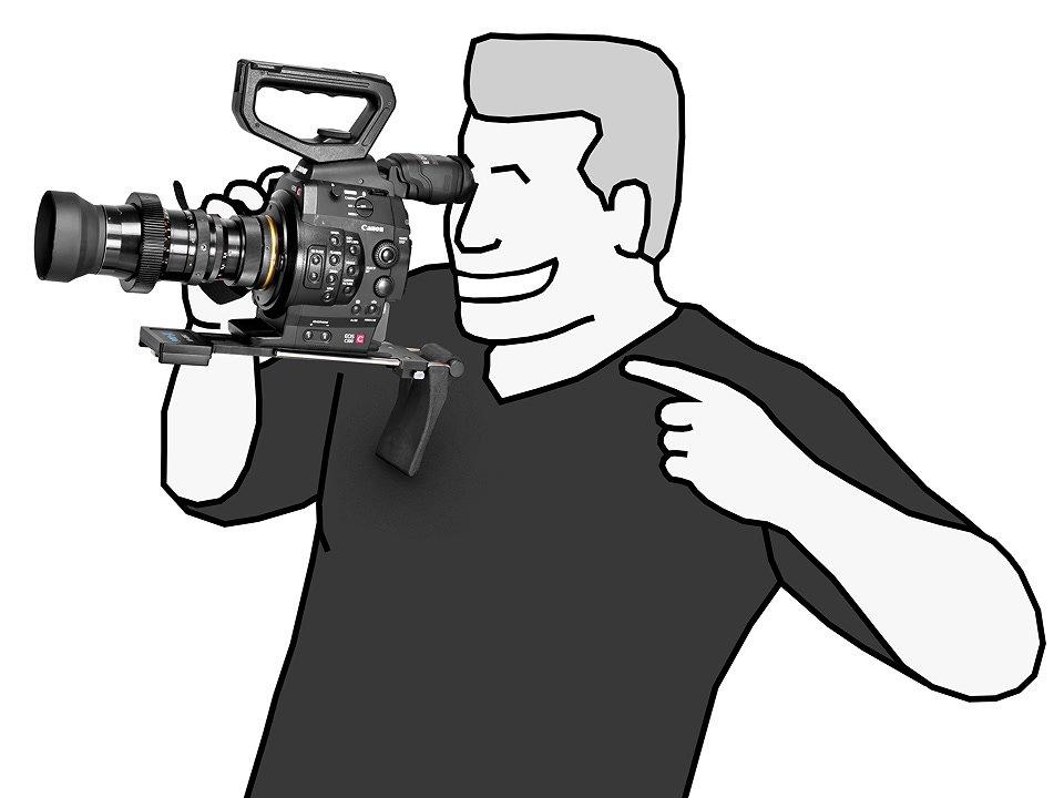 Canon C300 mit Schulterstütze.