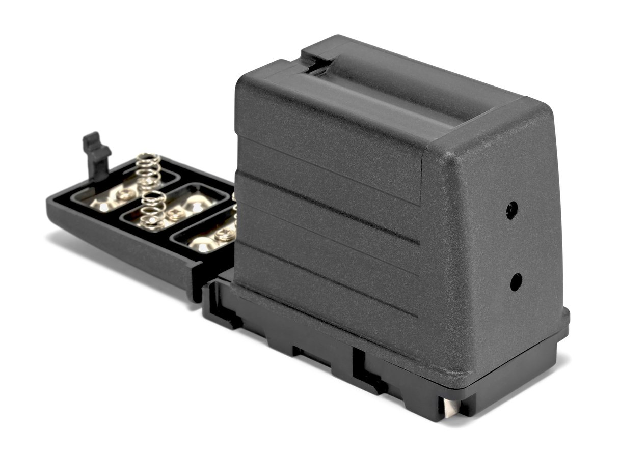 Das Gehäuse des Batterieadapters ist aus hochwertigem Kunststoff.