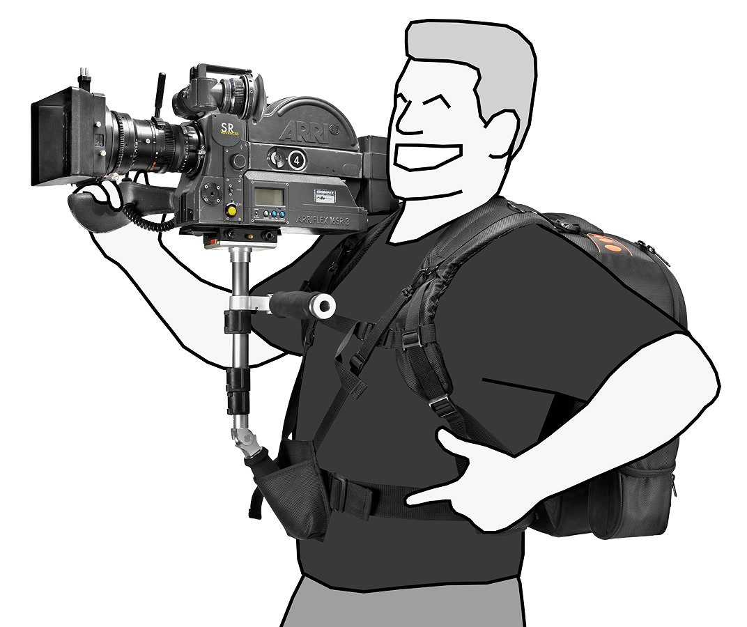 Köcher am Bauchgurt ermöglicht Abstützen der Kamera mittels Monopod direkt am Bauch.