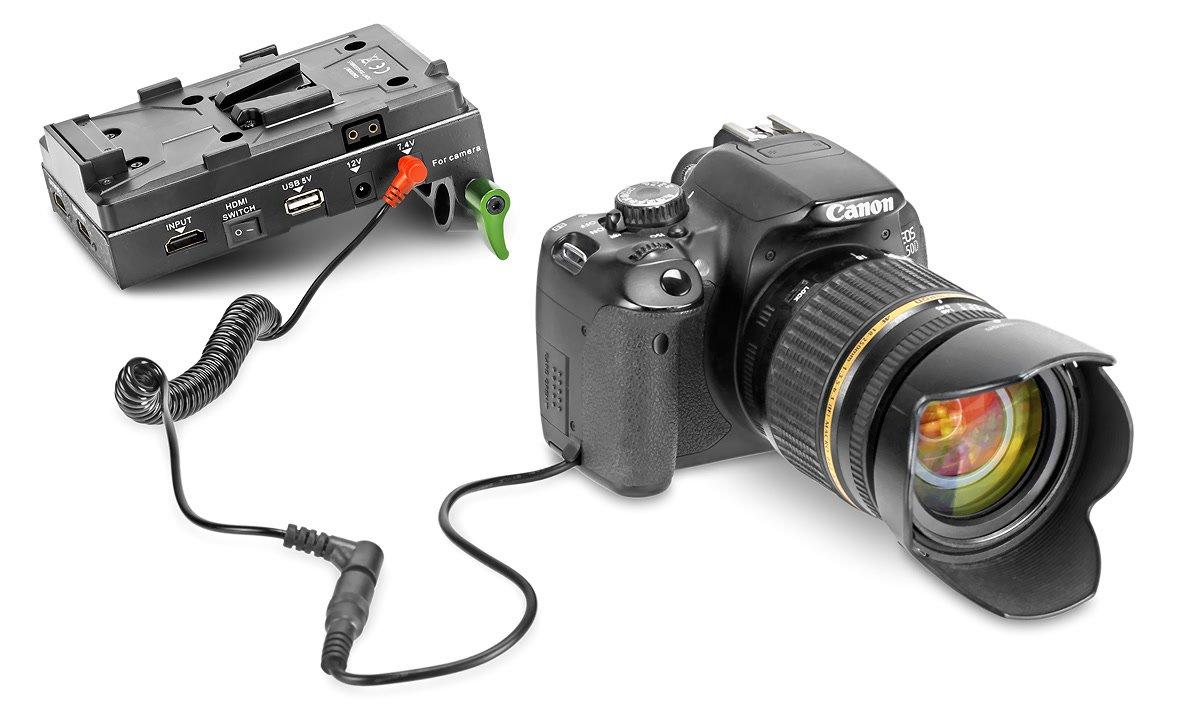 Canon 650D mit Spannungswandler.