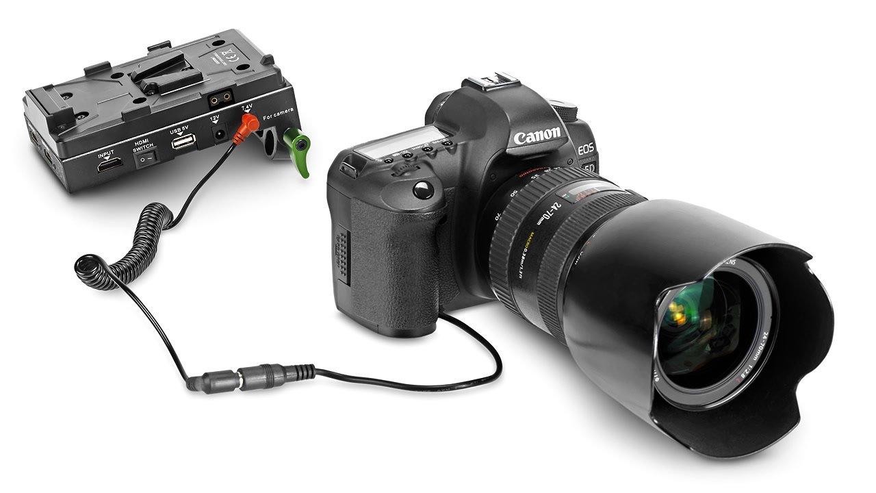 Canon 5D mit Spannungswandler.