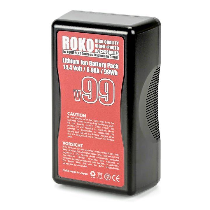 ROKO v99 flugtauglicher Lithium Ion V-Mount Akku mit 99Wh.